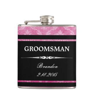 Noir rose Groomsman de damassé épousant le flacon
