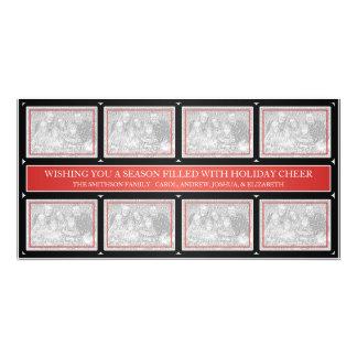 Noir rouge de collage de cadre de Noël Photocartes Personnalisées