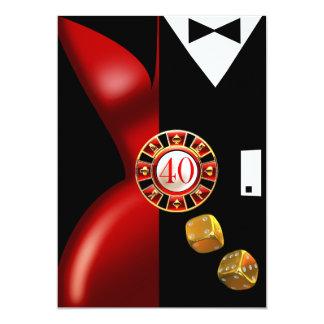 Noir rouge de la fête d'anniversaire de couples carton d'invitation  12,7 cm x 17,78 cm