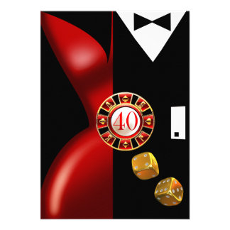 Noir rouge de la fête d'anniversaire de couples d' cartons d'invitation