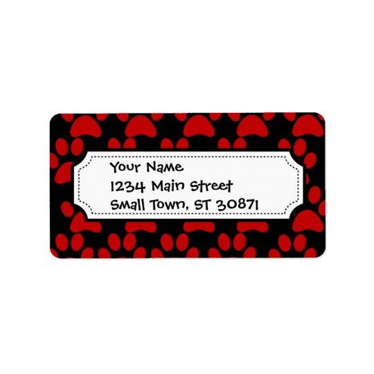 Noir rouge d'empreintes de pattes mignons de chiot étiquette d'adresse