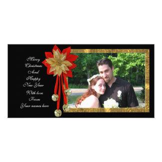 Noir rouge d'or de carte photo de Noël Photocartes Personnalisées