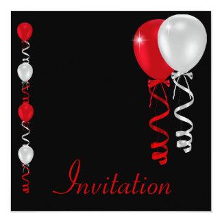 Noir rouge et le blanc monte en ballon l'événement carton d'invitation  13,33 cm