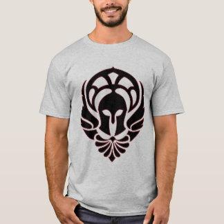 Noir/rouge grecs de T-shirt de guerrier