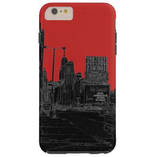 Noir rougeoyant de bords des années 1960 d'avenue coque tough iPhone 6 plus