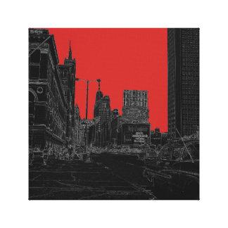 Noir rougeoyant de bords des années 1960 d'avenue toile