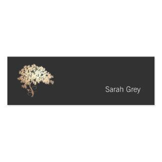 Noir simple d'arbre élégant d'or carte de visite petit format