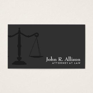 Noir simple de mandataire d'échelle de justice cartes de visite