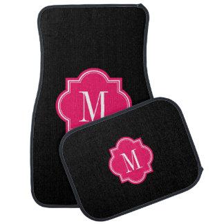 Noir solide avec le monogramme de roses indien tapis de sol