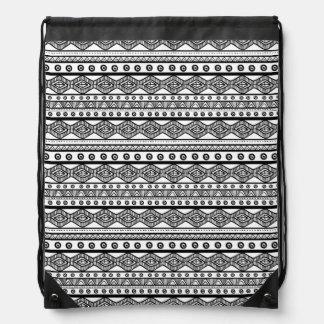 Noir sur le sac à dos aztèque Girly blanc de