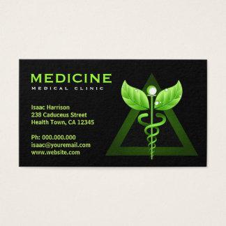 Noir vert Bizcards de caducée de médecine douce Cartes De Visite