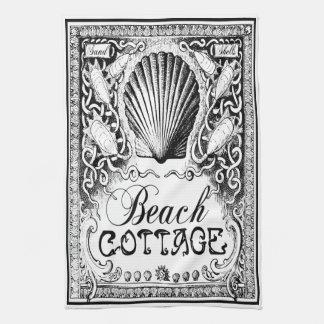 noir vintage de serviette de cuisine de cottage de