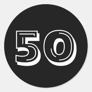 Noircissez le cinquantième anniversaire - 50 ans sticker rond