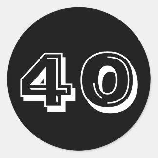 Noircissez le quarantième anniversaire sticker rond