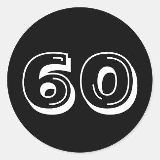 Noircissez le soixantième anniversaire sticker rond