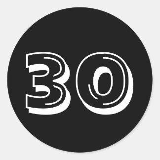 Noircissez les 30èmes autocollants d'anniversaire