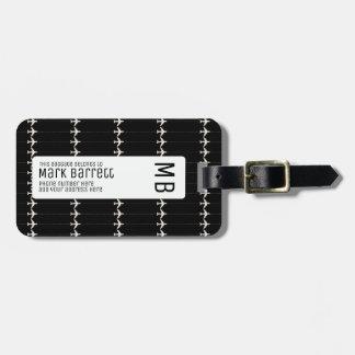 noirs, élégants et décorés d'un monogramme (nom et étiquette à bagage