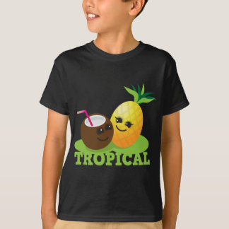 Noix de coco et ananas mignons TROPICAUX de Kawaii T-shirt
