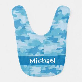 Nom bleu de camouflage de Camo personnalisé Bavoir