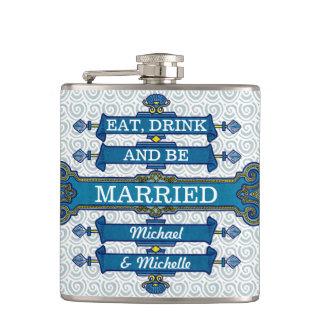 Nom bleu fait sur commande de mariage de plage flasques