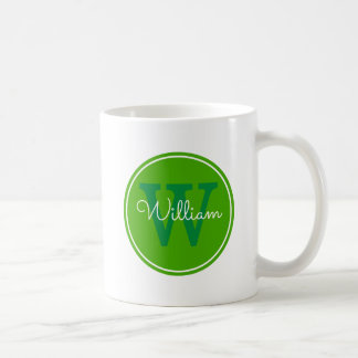 Nom + Cercle de vert d'intérieur d'initiale Mug