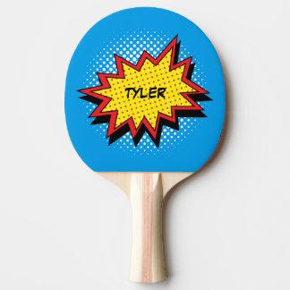 Nom coloré de style de bande dessinée raquette tennis de table