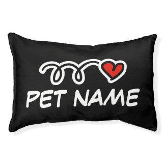 Nom d'animal domestique personalizable rouge lit pour chien