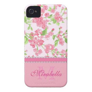 Nom de branches rose de fleur d'aquarelle de coque Case-Mate iPhone 4
