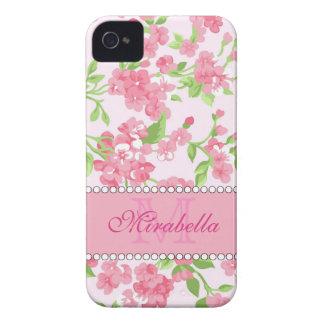 Nom de branches rose de fleur d'aquarelle de coque iPhone 4