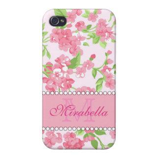 Nom de branches rose de fleur d'aquarelle de coques iPhone 4/4S