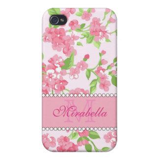 Nom de branches rose de fleur d'aquarelle de étuis iPhone 4