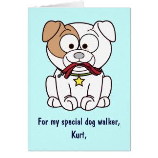 Nom de carte de remerciements de marcheur de chien