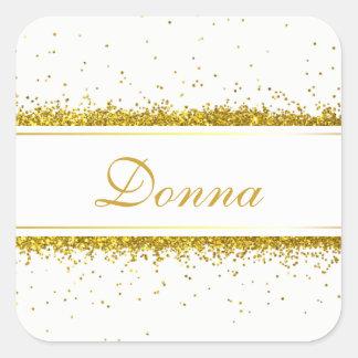 Nom de confettis de scintillement d'or - sticker carré