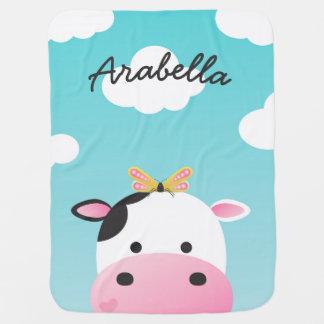 Nom de coutume de BFFs de vache et de papillon Couvertures De Bébé