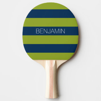 Nom de coutume de rayures de rugby de bleu marine raquette de ping pong