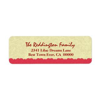 Nom de famille de dentelle imprimé par damassé étiquette d'adresse retour
