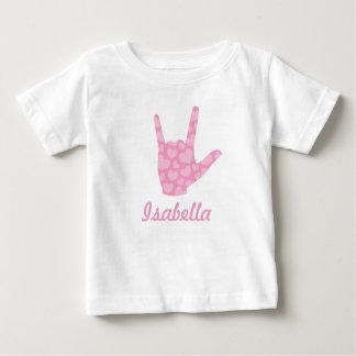 Nom de fille de coeurs de rose de langue des t-shirt pour bébé