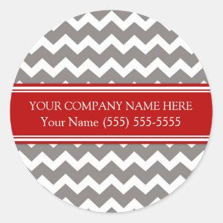 Nom de la société fait sur commande Chevron gris Sticker Rond