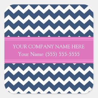 Nom de la société fait sur commande Chevron rose Sticker Carré