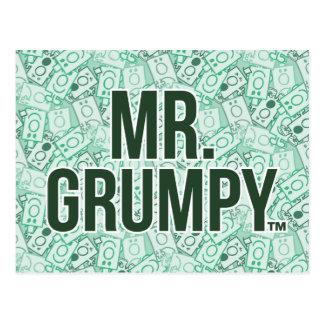Nom de M. Grumpy | et motif verts de lancer de Carte Postale