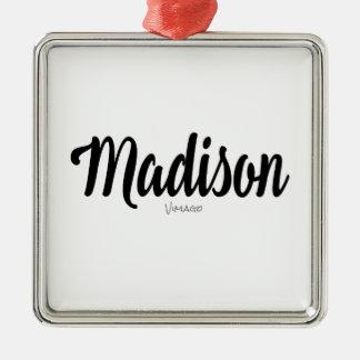 Nom de Madison personnalisé par VIMAGO Ornement Carré Argenté