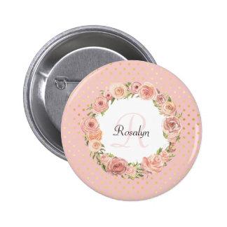 Nom décoré d'un monogramme floral de rose badges