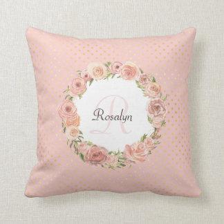 Nom décoré d'un monogramme floral de rose coussin