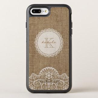 Nom en ivoire de monogramme de dentelle de toile coque otterbox symmetry pour iPhone 7 plus