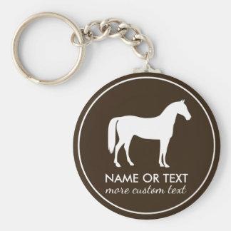 Nom équestre personnalisé d'équitation porte-clé rond