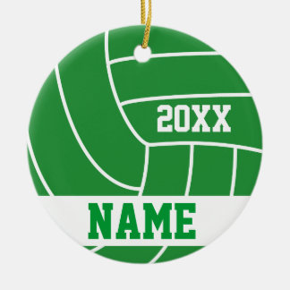 Nom et année verts du volleyball   do-it-yourself ornement rond en céramique