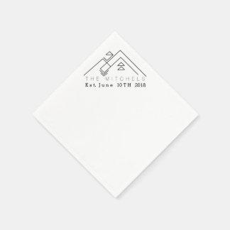 Nom et date faits sur commande géométriques de la serviettes en papier