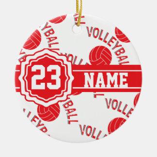 Nom et nombre rouges du volleyball   ornement rond en céramique