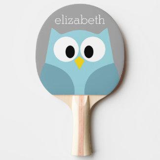 Nom fait sur commande bleu et gris de hibou mignon raquette de ping pong