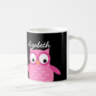 Nom fait sur commande de hibou rose mignon pour mug